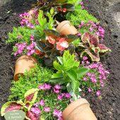 Sommerbepflanzung mit zusätzlicher Dekoration mit Tontöpfen