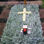 Blautanneabdeckung mit Kreuz aus Islandmoos